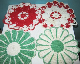 Four Crocheted Potholders, Handmade,Two Red And White, two Green And White, Round, Minor Staining, 6 1/2 Inch Diameter,
