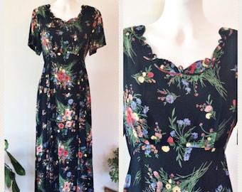 90's Floral Midi Dress - Vintage Short Sleeve Dress - Hippie Dress -  Festival Dress -
