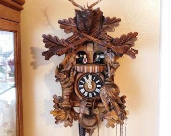 Black Forest Cuckoo Clock / Deer Hunter /Rabbit / Pheasant / Carousel Dancers