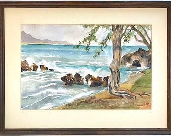 Vintage Signed Original Watercolor Seascape By Ohio Artist Ruth B. Firestone