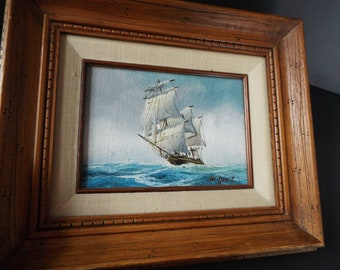 Maritine clipper ship oil painting signed Grant Beach house nautical