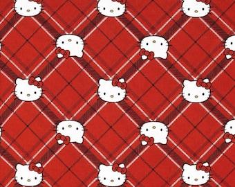 Hello Kitty Red Diamond Plaid Fabric BTY, cotton fabric, hello kitty fabric, quilting fabric, craft fabric