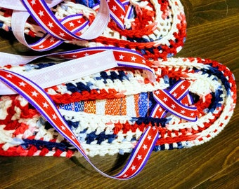 Patriotic Espradrill with flip flop soles with  Stars and Stripes ankle wrapped ribbon ties