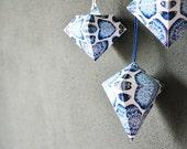 PDF Set of 3 DIY Hanging Gift Boxes Diamonds, Blue White Decoration, Wedding Decoration, Home Decoration, Gift Wrapping, Wedding Gift