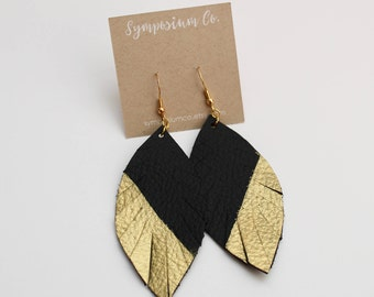 Medium Leather Feather Earrings