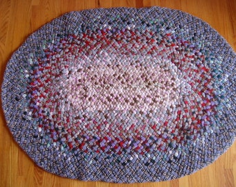 """vintage hand braided rug/mat/bench cover/wall hanging . . 33"""" X 45"""" . .  American made . . wool . . over 60 years old . . fair condition"""
