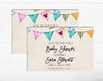 Baby Shower Save The Date Colorful Bunting Baby Shower Sign Personalized  Save The Date Announcement Baby Shower Bunting Invitation