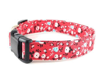 Red Fabric with Flowers in Pink White Aqua Teal Blue and Black Floral Adjustable Dog Collar