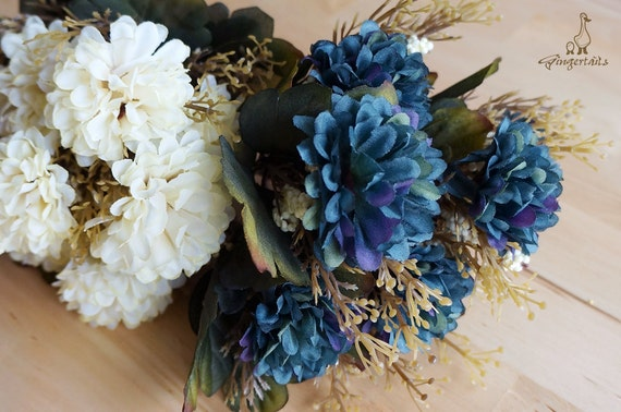 Clearance was usd 662 ivory blue purple and green clearance was usd 662 ivory blue purple and green chrysanthemum silk flower headpiece dcor wedding bouquet fb010 12 from gingertails on mightylinksfo