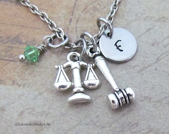 Lawyer Scales of Justice Gavel Charm Necklace, Personalized Hand Stamped Initial Birthstone Lawyer, Judge Charm Necklace