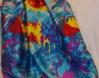 Sunny flowers on blue and grey silk satin scarf