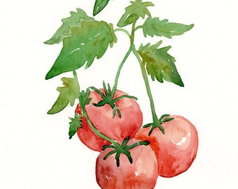 watercolor tomatoes, original painting, garden, kitchen art, red tomatoes, wall art, fine art, kitchen decor, tomato painting, original art