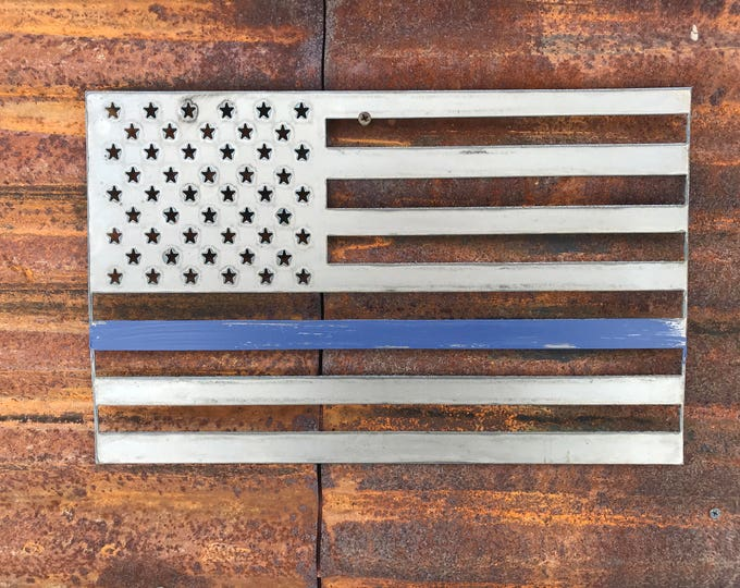 Rustic Metal American Flag, Blue line Rustic Flag Sign, Rustic Wall Decor, Farmhouse decor, Garden, Porch Flag, Home Wall decor, Police flag