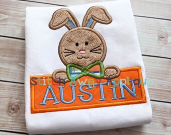 Easter Bunny Name Frame Machine Applique Design