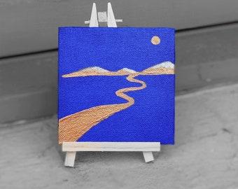 "Small Acrylic on Canvas, 4x4"",  Mini Art, Gift,  Desk Companion"