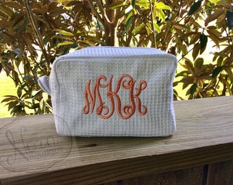 Monogrammed Cosmetic Bag | Monogram Makeup Bag | Makeup Case | Waffle Weave Cosmetic bag