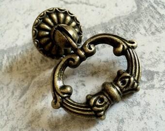 Vintage Look Dresser Drawer Pulls Handles Knobs Ring Drop Pull