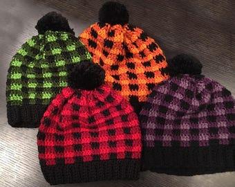 Buffalo Plaid Crochet Lumberjack Hats