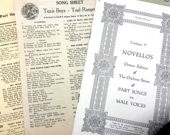 Vintage Music Sheet Songbook 96 pages, Antique Songbook, Collectibles, Sheet Music, Male Quartets for Male Voices, 117 Years Old Songbook