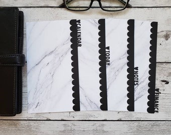 Planner Dividers - Custom Tabs -  Marble Scalloped Dividers - Planner Accessory - Pocket, Field Notes, Personal, B6 Slim, Standard, A5