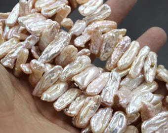 5 - 10 mm champagne and pink biwa freshwater pearls, pink biwa pearl,15'' full strand, champagne pearl strands, pearl wholesale