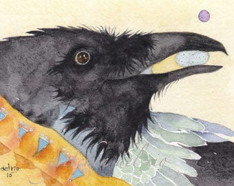 PRINT aceo RAVEN watercolor giclee  spirit totem animal 'Dreamer' - Free Shipping
