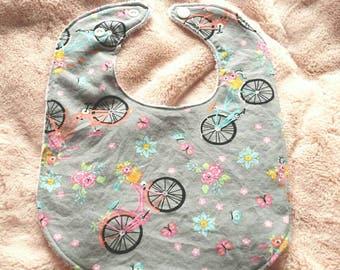 Vintage bicycle bib, Ready to ship,infant bib, cotton baby bib, baby gift, terrycloth baby bib, reversible, adjustable snaps, girl bib