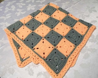 Peach and Gray Granny Square Baby Blanket