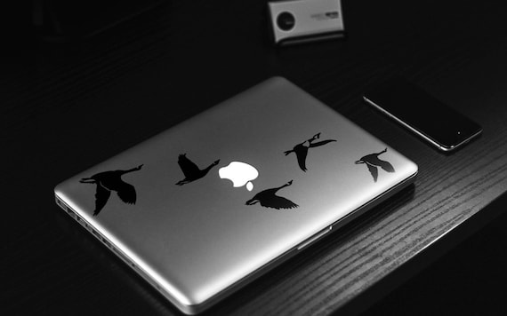 Flying Geese FlockDecal Sticker, Laptop Skin, mac, birds, Sky, gaggle, skein, team, wedge, cover decal, Macbook Decal Sticker