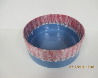 Stoneware Red and Blue Serving Bowl