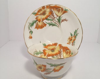 """Royal Chelsea """"Lake Louise Poppy"""" Teacup and Saucer"""