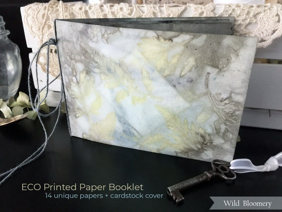 ECO Printed Paper Booklet No. 0001 - ECO Dyed Cardstock Covers + 14 Torn Edge Plant Dyed Papers