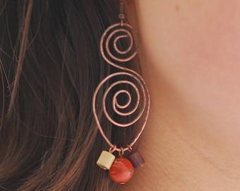 Jasper earrings copper Hammered hoop earrings  Big hoops Copper jewelry Wire jewelry Wire wrapped Solid copper earrings Copper earrings