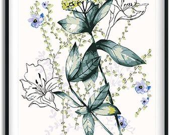 Yarrow bouquet print