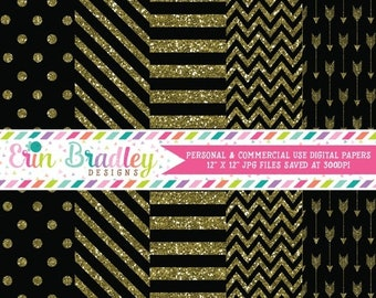 80% OFF SALE Digital Paper Pack Gold Glitter and Black Commercial Use Digital Scrapbook Papers Polka Dots Stripes Chevron and Arrows