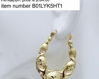 1 1/2'' 10k Solid Yellow Gold Large hoop Hugs & Kisses Earrings 35mm 3.7GR