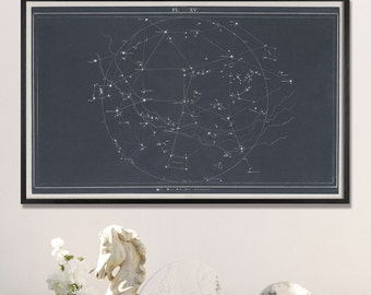 Star Map, Star Chart, Slate Gray Constellation Chart Print, Large Horizontal Chart Print, Minimal Chart, Map Art