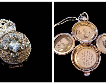 Vintage Silver Coro 4 Picture Locket - Light Blue Topaz