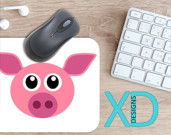 Pig Mouse Pad, Pig Mousepad, Piglet Rectangle Mouse Pad, Pig, Piglet Circle Mouse Pad, Pig Mat, Computer, Cartoon, Drawing, Oink, Farm