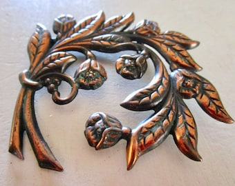 Vintage Copper Floral Pin - Flowers Leaf - Brooch - Etsy Jewelry - Accessories - Statement - Patina - Bouquet - Mothers Day - Gift