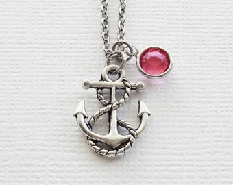 Anchor Necklace Nautical Ship Boat Ocean Sea Beach Summer Gift BFF Friend Birthday Gift Silver Jewelry Swarovski Channel Birthstone Crystal