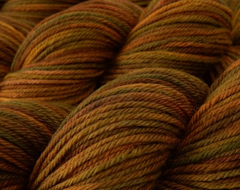 Hand Dyed Yarn, Worsted Weight Superwash Merino Wool - Antique Brass - Worsted Knitting Crochet Yarn, Gold Multicolor