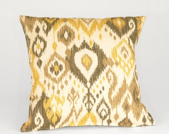 Khaki and Gold Pillow Covers, Square Decorative  Ikat Accent Pillow, Designer Fabric P-2-128,P-7-119