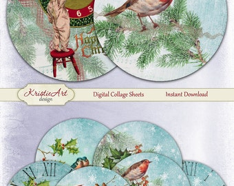 75% OFF SALE Happy New Year - Digital Collage Sheet - Digital cards C193 printable download Christmas tags digital round Winter atc card