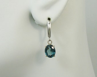 14K White Gold Dangle London Blue Topaz Oval Drop Earrings, Green Blue Gemstone Lever Backs, Spring Clasp European Wire LB14KWLBTOV10x8
