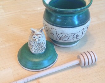 Pottery Honey Pot, Green with Owl Handle, Mountain Mud Company, Honey Jar, Honey Crock, Honey Storage