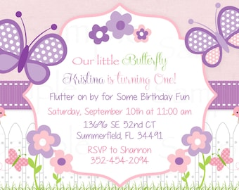 Girls First Birthday Pink Butterfly Flower Garden Birthday Invitation - Printable File