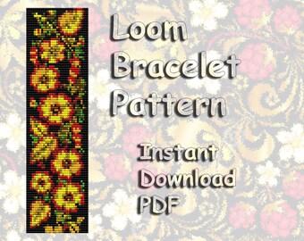 Loom Bead Pattern, Bracelet Pattern, Seed Beading Pattern, Bead pattern, loom Pattern, Cuff pattern, PDF Instant Download, Golden Khokhloma