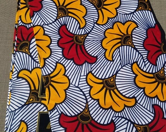 White, Yellow And Red Ankara fabric; African Clothing; African Fabric in yard; African Headwrap;African Fabric: Ankara Fabric in yards
