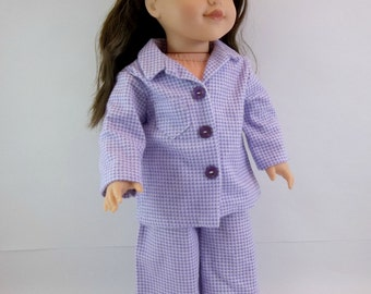 Lavender Check Flannelette Pajamas for 18 inch  Doll Fits American Girl Doll Sleepwear Toys
